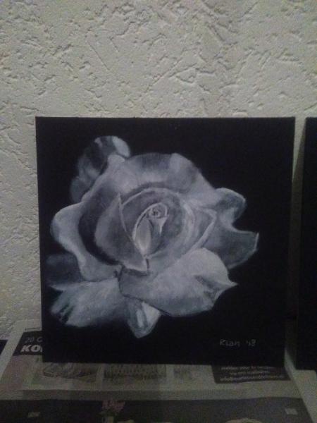 Drybrush-zwartwit-bloem-I