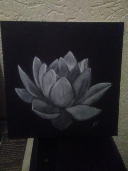 Drybrush-zwartwit-bloem-III